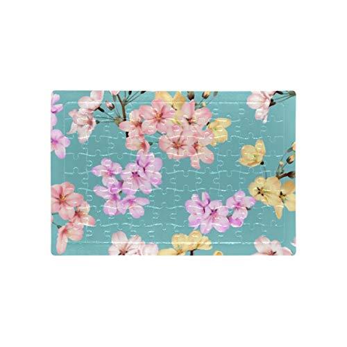 HJHJJ Puzzles Blumen Nahtloses Muster Bunt Somei Yoshino Kinder Erwachsene Vorschule Puzzles Pädagogische Intellektuelle Dekomprimierung Spaß Familienspiel