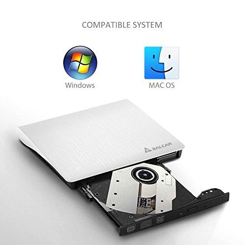 SALCAR Premium Laufwerk extern für DVD/CD - Brennsoftware - Für Apple MacBook, Windows und weitere Notebooks - externer DVD-Brenner - Weiß