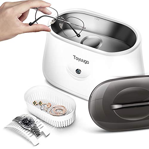 Ultrasonic Cleaner, toyuugo Professional Ultrasonic Jewelry Cleaner Machineand Whit Clear Lid for Cleaning Eyeglasses, Watches, Rings, Necklaces, Coins, Razors, Dentures, Tools, Parts, Instruments