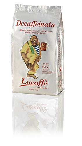 LUCAFFÈ Caffe Decaffeinato, 100% Arabica Kaffeebohnen, Kaffeebeutel 700 gr. spart Aroma, natürlich entkoffeinierten Kaffee, süßen Geschmack, vollen Körper, dicke Sahne, angenehmes Aroma