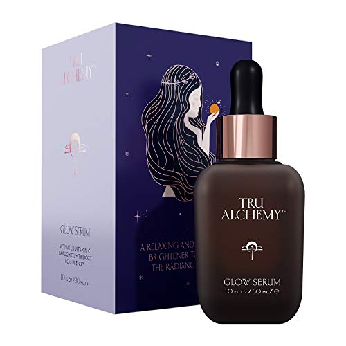 Tru Alchemy Vitamin C Glow Serum | Facial Serum with Niacinamide, Bakuchiol, Glycolic & Lactic Acid | Anti-Aging Dark Spot Remover for Face & Skin | 1 fl oz/30 ml