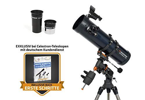 Celestron AstroMaster 130 EQ 130/650 Newton-Spiegelteleskop mit Nachführmotor und Stahlstativ
