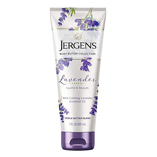 Jergens Lavender Body Butter Body and Hand Lotion, Moisturizer for Women, 7 Ounce, with Essential Oils for Indulgent Moisturization