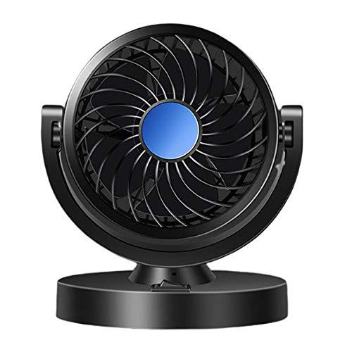 Greatangle-UK Ventilador de Coche de Doble Cabeza 12V / 24V USB camión Potente silencioso Ventilador de refrigeración de Viento Grande Coche Van Ventilador de refrigeración Universal
