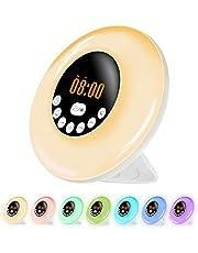 Wake Up Light Alarm med 12 larmtoner, FM-radio, snooze-funktion, 6 ljusstyrka, 6 färger soluppgång solnedgång simulering sänglampa, liten nattlampa för barn och vuxna
