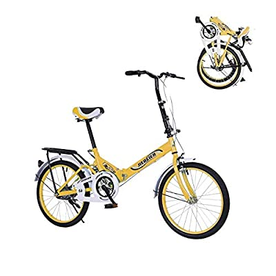 WSSW 20 Inch Folding Bike for Teens, Lightweight Foldable Adjustable Bicycle for Women Student with Backseat, Urban Road Bikes (Yellow)