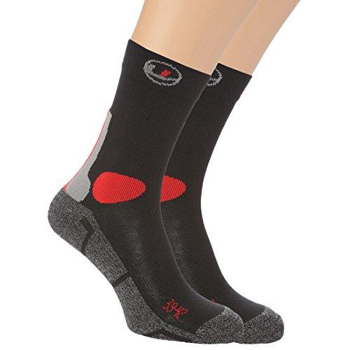 Ultrasport Unisex Trekking/Wander-Socken, 4er Pack, schwarz/rot, 43-46