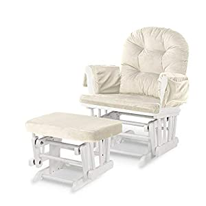 Rocking Chair & Ottoman Baby Nursery Replacement Cushions Velvet (Cream)