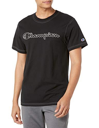 Champion Classic Graphic Contrast Stitch tee Camiseta, Negro, M para Hombre