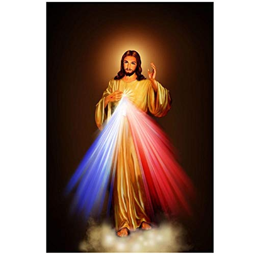 Imagen de la Divina Misericordia Amor Jesucristo Lienzo motivacional Impresión de póster Decoración de la habitación / 50x75cm-Sin marco