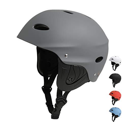 Vihir BMX Helm Skaterhelm Fahrradhelm Herren Damen Jungs & Kinderhelm Wasserhelm mit Ohrenschützer ABS+Eva Schwarz Weiß Dunkelgrau (L 57-63CM, DG)