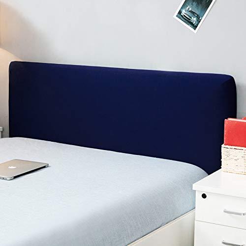 Copertura per testiera per letto, protezione elastica a tinta unita, decorazione per camera da letto, copertura antipolvere, Navy, Double (47-55 )
