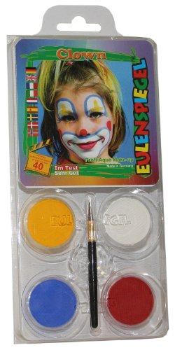 Eulenspiegel 204146 Schminkset Clown, Pinsel und Anleitung, 4 Farben