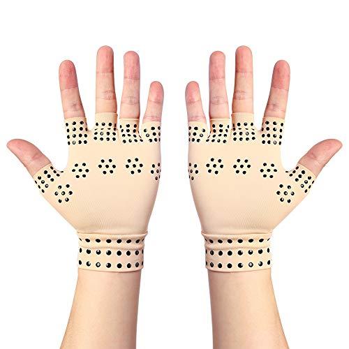 Guantes antiartritis con imanes, guantes para artrosis sin dedos, incluye reumatoide, terapia de compresión, calma el dolor de manos (color piel)