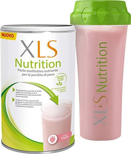 XLS Nutrition Shake Proteico Pasto Sostitutivo per una Graduale Perdita del Peso, 400 gr, 10 Porzioni, Gusto Fragola