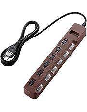 エレコム 電源タップ color style 雷ガード 省エネ 個別スイッチ 6個口 2m ブラウン T-BR04-2620BR