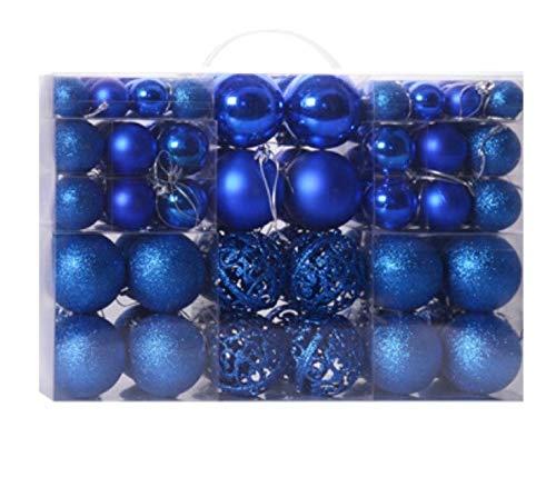 100 palline decorative di Natale, decorazioni per albero di Natale, 3-6 cm, sfera leggera, opaca, sfera rosa, sfera cava (blu)