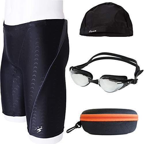 S4R(エスフォーアール) メンズ パッド付き フィットネス 競泳水着 ゴーグル スイムキャップ ゴーグルケース 4点セット 競泳 セット スイミングパンツ 水着 (sw-m-7 XL or O)