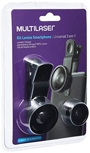 Multilaser AC326 Kit De Lentes Para Smartphone Universal 3 Em 1, Preto
