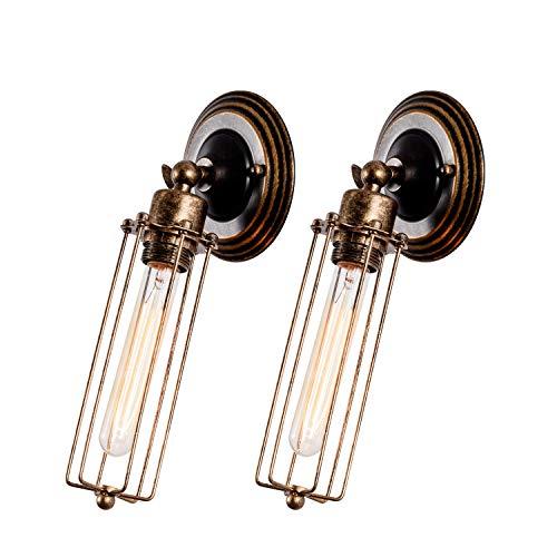 Wandlampe Retro Verstellbar Metall Wandlampe Vintage Wandlampe mit Tube Light Shade Rustikal für Landhaus Schlafzimmer Wohnzimmer Esstisch (keine Glühbirnen) (1 leichte 2 Packungen)