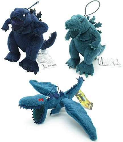 Conjunto Completo 3 Felpa Plush Godzilla 15 cm Azul Verde Servum Volante con alas Originale Sega Planet Eater