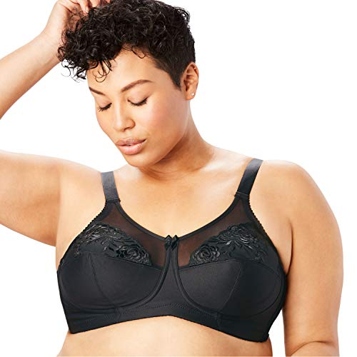Elila Women's Plus Size Embroidered Wireless Bra - 52 G, Black