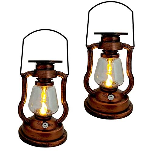 2x LED Vintage Solarlaterne mit LED Kerze Gartenlaterne Solar Laterne Gartenlampe Solarglas Antik Solar-Laterne (2x Vintage Solar Laterne)