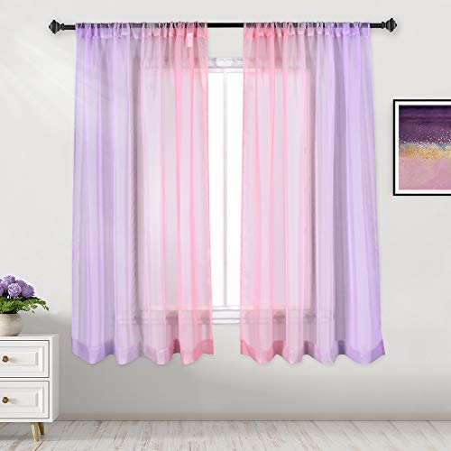 DECOVSUN Purple and Pink Ombre Sheer Curtain for Girls Room Two-Color Gradient and Decorative Rod Pocket Window Curtains Panels for Parlor Bedroom Living Room Set of 2 Panels 52X63