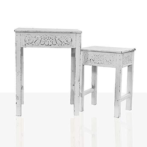 DRULINE Beistelltisch 2er Set Nachttisch Dekoration Ablage Kaffeetisch aus Holz im Shabby-Chic Stil 2 Verschiedene Größen |Groß L x B x H 35.5 x 29 x 46.5 cm Klein L x B x H 26 x 20 x 36.5 cm | Weiß