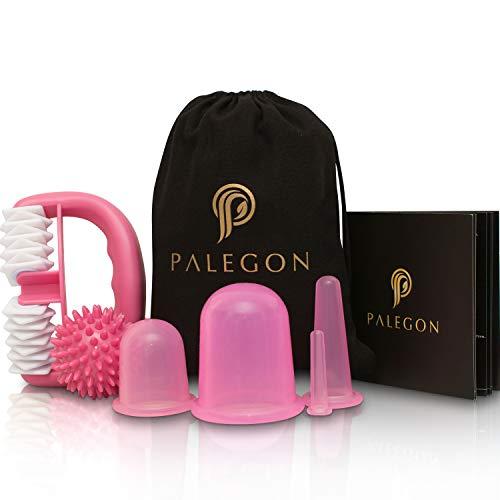 Palegon® Anti Cellulite, Anti Aging Schröpfen Set - 4x Cellulite Saugglocke, 1x Cellulite Roller, 1x Massageball - inklusive Gebrauchsanweisung für strahlend schöne Haut