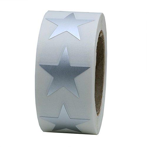 Hybsk Silver Metallic Foil Star Shape Paper Sticker Labels Packaging Seals Crafts Wedding Favor Tag Labels 500 Total Per Roll (1 Roll)
