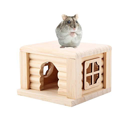 Pssopp Hamster House Naturholz Hamster Cabin Hamsterkäfig Kleintierhaus mit Fenster für Kleintier