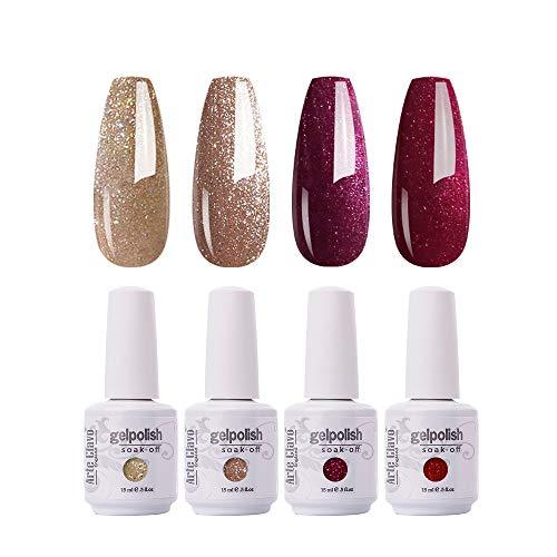 Arte Clavo 15ml Varnish Soak Off UV Led Gold Gillter Red Gold Christmas Nail Gel Polish Nail Art Salon Set 34 of 4 Colors B34