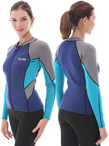 GoldFin Camiseta de neopreno para mujer, de 2 mm, de neopreno, de manga larga, con cremallera frontal, para natación, aeróbicos, buceo, surf, kayaking, negro/azul marino, M)