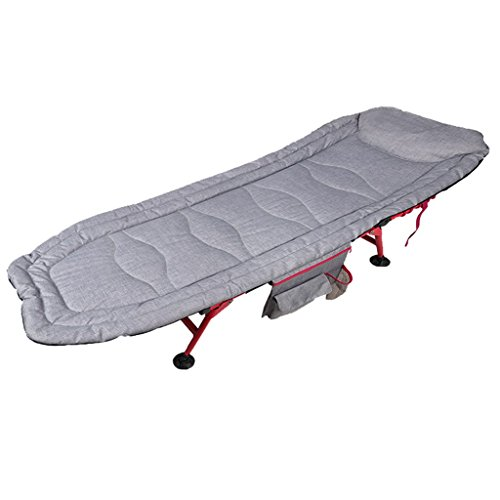 Lit gris clair de chaise longue de camping de Lit de pliage de Lit simple de Siesta Chaise de bureau Lit simple portatif d'adulte d'adulte avec le support de tasse et le sac de stockage