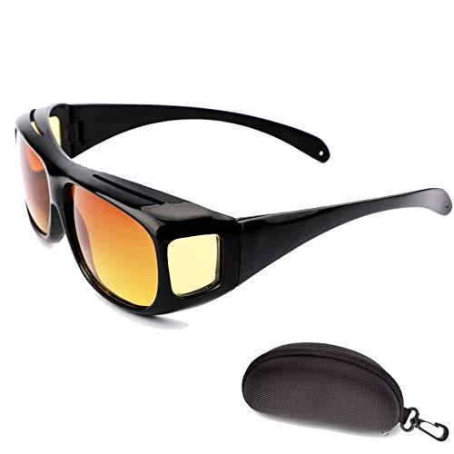 Schutzbrille, Filterblendung Nachtfahrbrille Für Brillenträger, Kratzschutz Seitenschutz Nachtsichtbrille Mit Hartschalenkoffer - 400 UV-Schutz Brille, Wind und Sand