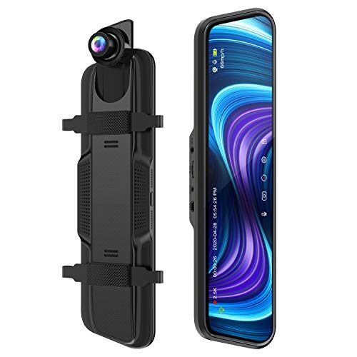 """Spiegel Dashcam, ThiEYE 2.5k+1080P Ultra HD Auto-Videorecorder Vorne Hinten Lens mit 170° Weitwinkel, Super Nachtsicht,10"""" IPS Touchscreen, Loop-Aufnahme und G-Sensor, Parküberwachung,GPS(Optional)"""