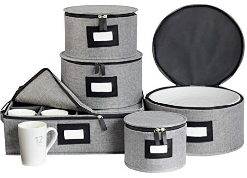 China Storage Box Set for DinnerwareHard Shell and Stackable Dishes Mugs Storage Containers with Lable Window for Saucers Dinner and Salad Plates Protects48Pcs Felt Plate Dividers IncludedSet of 5-Grey