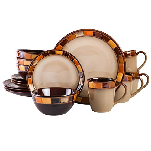Gibson Casa Estebana 16-piece Dinnerware Set Service for 4, Beige and Brown - 70736.16RM