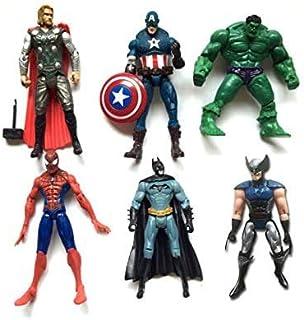 VITADAN New Set Superhero Action Figures - 6 PCS Action Figure Set - Batman, Superman, Hulk, Thor, Ironman, Captain America PVC Figure Toy Dolls – Hero Cake (Multicolor)