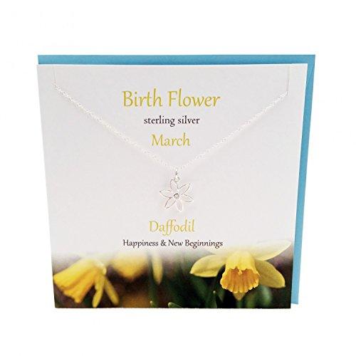 Sterling Silver Halskette Geburtstagsblume März, Anhänger: Narzisse