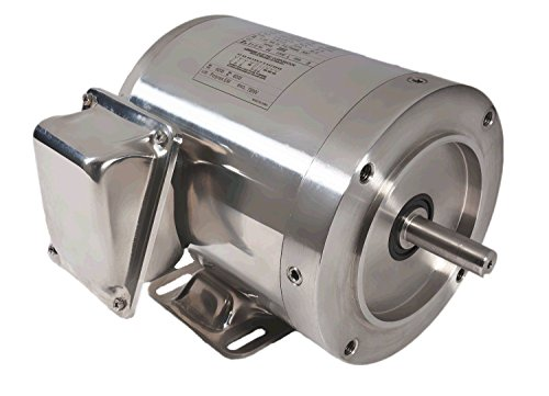 Leeson 191291.40 SST Washguard Motor, 1HP, 1800 RPM, Rigid C-Face 460V, 300 Series Stainless Steel, Tenv, 3 Phase