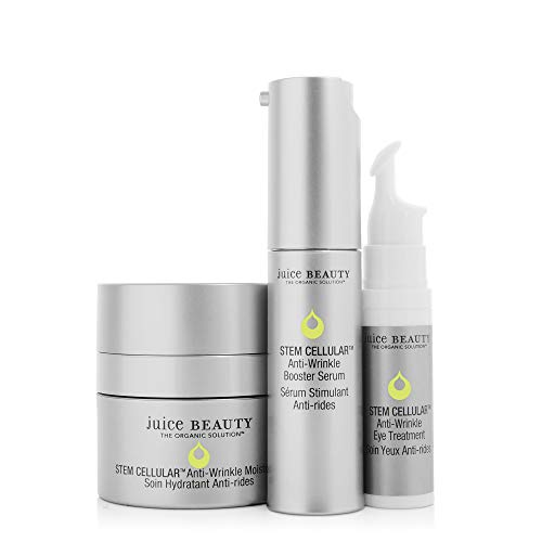 Juice Beauty Stem Cellular Anti-Wrinkle Solutions Kit - Age Defying Daily Skincare Set with Facial Serum, Face Moisturizer and Eye Cream Treatment - Made with Organic Ingredients (3 Products) 1