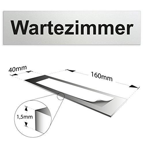 Türschild 160 x 40 x 1,5 mm aus Aluminium (eloxiertes Vollmaterial) | Oberfläche in geschliffener Edelstahloptik | selbstklebend (Wartezimmer)