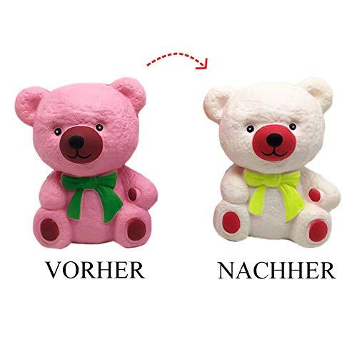 Squishie Farbwechselnder Teddy Bär Groß Süß Kinder Spielzeug Antistress Squishy Color Change Teddy Bear Kawaii Soft (14*9,5*11cm)
