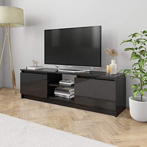 UnfadeMemory Mueble para TV Moderno,Mesa para TV,Mueble de hogar,con 2 Cajones y 2 Compartimentos Abiertos,Estilo Clásico,Madera Aglomerada (Negro Brillante, 120x30x35,5cm)