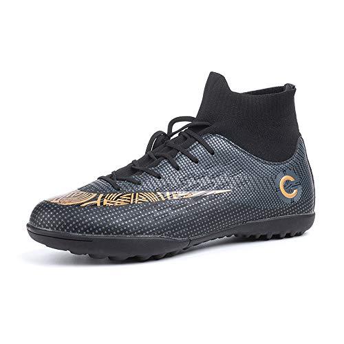 Scarpe da Calcio Uomo con Calzino Tacchetti Atletica Scarpe da Allenamento Sportive Scarpe Calcio Bambino Professionale Nero Piatto Taglia 47