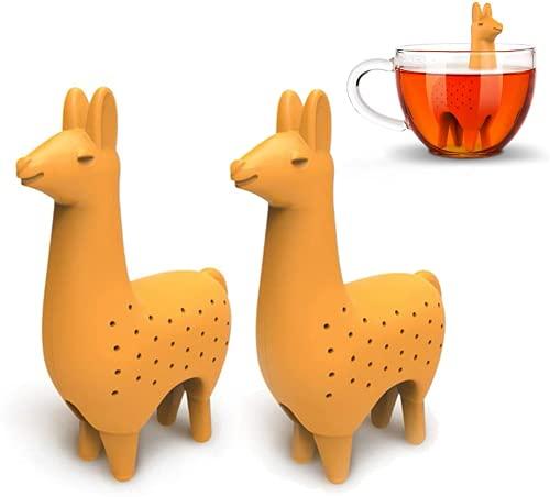Tee Infuser, 2-Stück Alpaka-Form-Tee-Infuser Silikon Teesieb Tee Undichtes Teeset Tier Teeset Zubehör Filter Wiederverwendbar Tea Strainer Für TeeblätterUnd Gewürze Ungiftig Und Sicher Nice