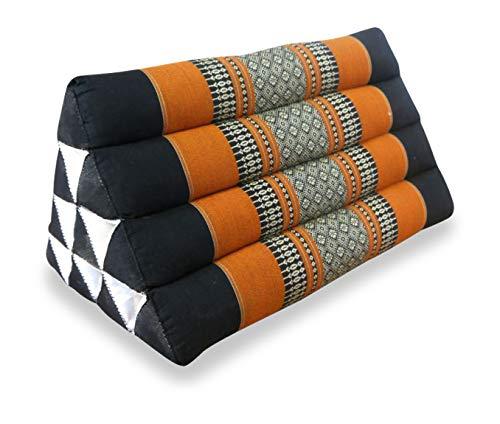 livasia DREIECKSKISSEN, Thai Dreieckskissen, asiatisches Keilkissen als Rückenstützkissen BZW. Nackenkissen, Thaikissen als Lesekissen, farbenfrohes Entspannungskissen (schwarz/orange)