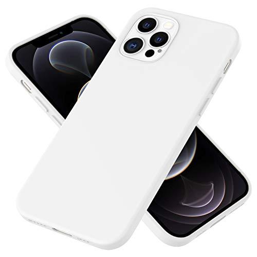 NALIA Carcasa Silicona Suave Compatible con iPhone 12 Pro MAX Funda, Delgado Robusta Cubierta Resistente a la Suciedad con Microflujo, Soft Case Bumper Estuche Protectora Cover, Color:Blanco